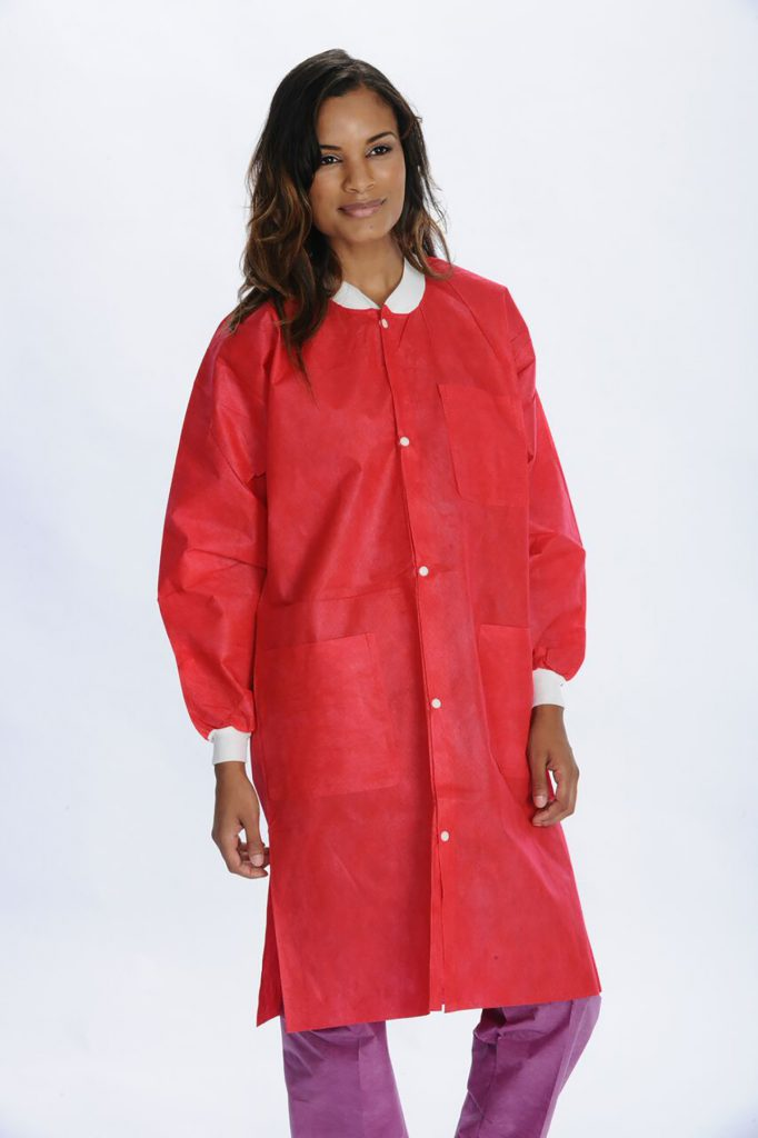 3660_extra safe_knee length lab coat_Red